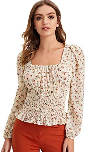 Women's Sexy Frill Ditsy Floral Print Crop Top Square Neck Long Sleeve Shirred Blouse Tops