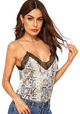 Women's V Neck Sleeveless Lace Trim Spaghetti Strap Camisole Cami Tank Top