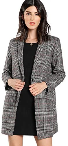 Women's Lapel Collar Coat Long Sleeve Plaid Blazer Outerwear