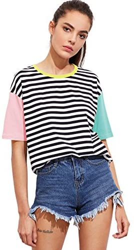 Stripe Crewneck Short Sleeve Tee