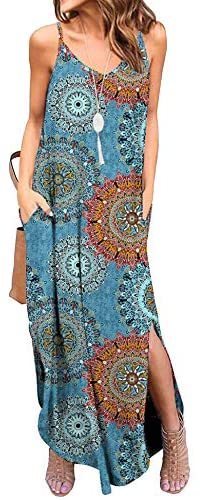 Womens Summer Long Boho Maxi Dresses V Neck Spaghetti Strap Pockets Loose Casual Beach Sundresses (Floral )