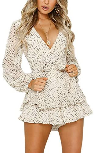 Women's Long Sleeve Polka Dot Romper Floral Print V-Neck Bubble Sleeves Layer Ruffle Hem Casual Jumpsuit