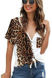Women's Colorblock Leopard Shirt Blouse Short Sleeve V Neck Button Up Tee Tops with Pocket