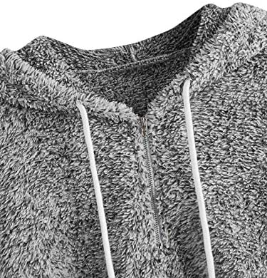 Women's Casual Zip Up Fleece Pullover Teddy Drawstring Hoodie Sweatshirt