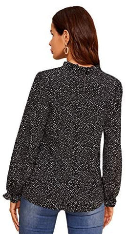 Women's Casual Mock Neck Long Sleeve Dalmatian Print Ruffle Trim Blouse Tops Shirts Black
