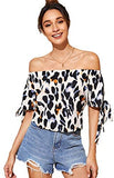 Women's Off Shoulder Slit Sleeve Tie Cuff Blouse Top Multicoloured