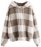 Women's Plaid Long Sleeve Hooded Sweatshirt Fuzzy Fleece Pullover Tops