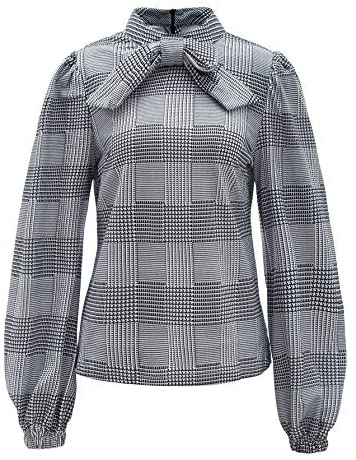 Women's Vintage Bow Tie Neck Bishop Sleeve Plaid Workwear Blouse Top
