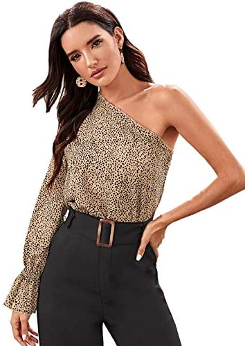 Women's Polka Dot Leopard One Shoulder Ruffle Trim Blouse Long Sleeve Top