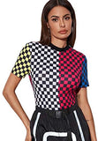 Women's Casual Colorblock Short Sleeve Plaid Mock Neck Tee Tops Shirts Multicolor