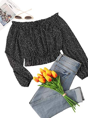 Women's Sexy Polk Dots Print Crop Top Off Shoulder Long Sleeve Blouse Tops