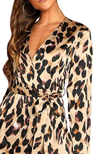 Women's V Neck Surplice Waist Tie Satin Leopard Print Split Wrap Dress