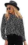 Women's Polka Dots Frill Mock Neck Long Sleeve Work Blouse Tops