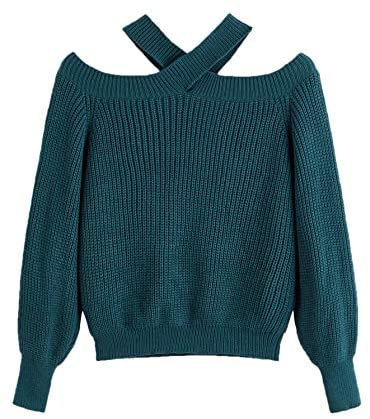 Women's Casual Off Shoulder Long Sleeve Solid Halter Sweater