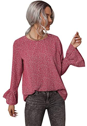 Women's Casual Round Neck Flounce Sleeve All Over Print Blouse Tops
