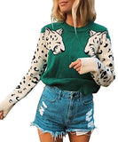 Angashion Women's Sweaters Casual Leopard Printed Patchwork Long Sleeves Knitted Pullover Cropped Sweater Tops