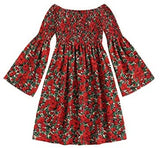 Women's Casual Floral Print Off Shoulder Trumpet Sleeve Swing Dress