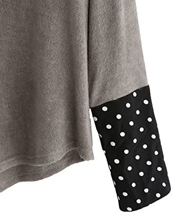 Women's Loose Contrast Polka Dot Collar Long Sleeve Blouse Knit Tops