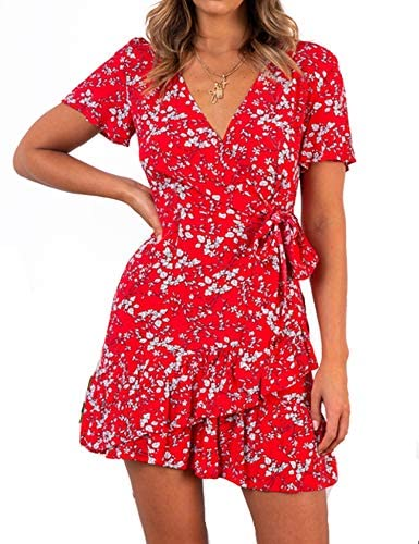 Summer Women Short Sleeve Print Dress V Neck Casual Short Dresses