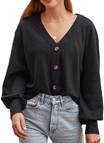 Women's Waffle Knit Shirts Button Down Long Sleeve V Neck Casual Tops Shirts