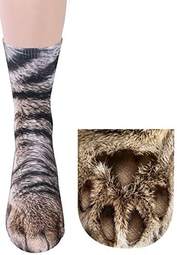 3D Socks Unisex Adult Animal Paw Crew Socks - Sublimated Print (Cat)