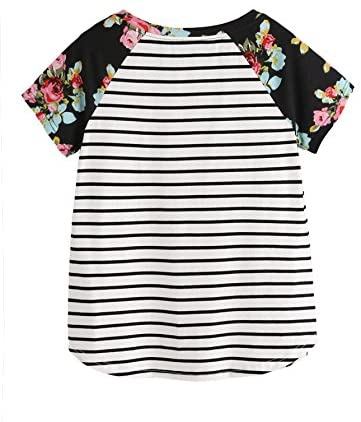 Women's Floral Print Short Sleeve Tops Striped Casual Blouses T Shirt Black