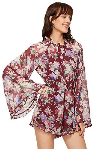 Women's Floral Printed Ruffle Bell Sleeve Loose Fit Jumpsuit Rompers