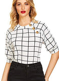Women's Buttons Puff Sleeve Elegant Vintage Blouse Shirts Top