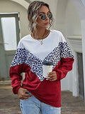 Women's Batwing Long Sleeve Sweatshirt Crewneck Colorblock Leopard Pullover