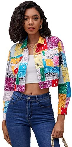 Women's Colorblock Long Sleeve Printed Coat Button Crop Jacket with Pockets
