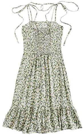 Women's Summer Sleeveless Floral Ruffle Strappy Beach Swing Dress
