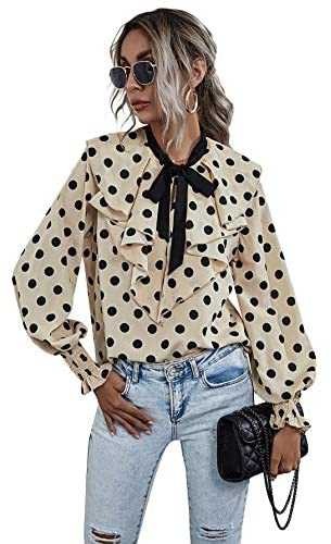 Women's Polka Dots Bow Tie Neck Long Sleeve Work Ruffle Blouse Tops