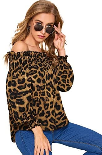 Women's Off Shoulder Long Sleeve Leopard Shirred Frill Top Blouses
