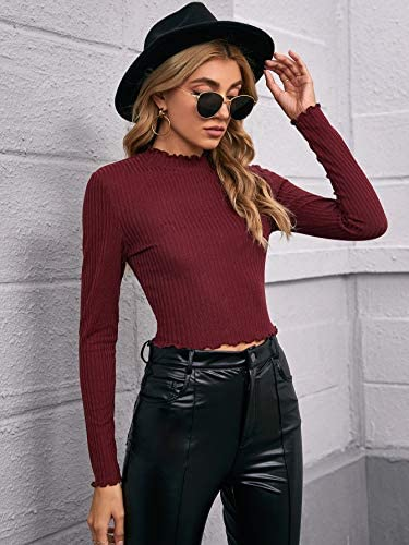 Women's Ribbed Knit Semi Mesh Lettuce Trim Long Sleeve Crop Tops T Shirts Tee