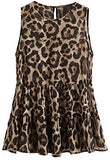 Women's Casual Leopard Print Tiered Ruffle Hem Blouse Flared Peplum Top