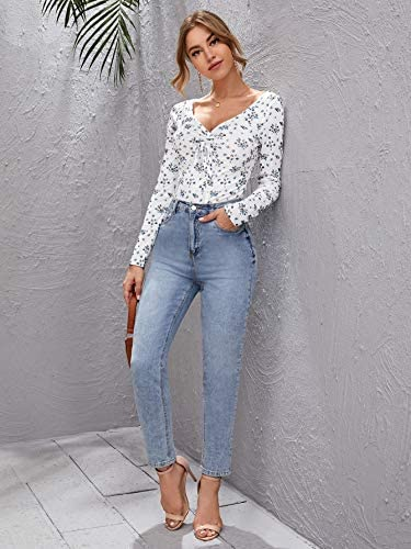 Women's Casual Floral Long Sleeve V Neck Tie Knot T Shirt Bodysuit Tops