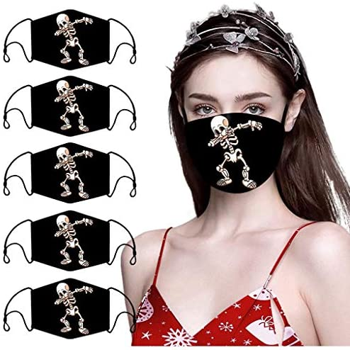 Stylish Skull Print Adult Halloween Fashion Dustproof Face_Mask Washable Reusable Cloth Bandana for Men Women Pack of 5