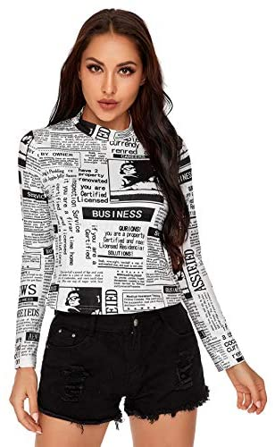 Women's Mock Neck Long Sleeve Fitted Graphic Print T-Shirt Tee Tops Print