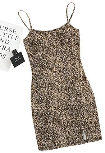 Women's Basic Solid Cami Dress Sleeveless Strap Bodycon Split Mini Party Club Dress