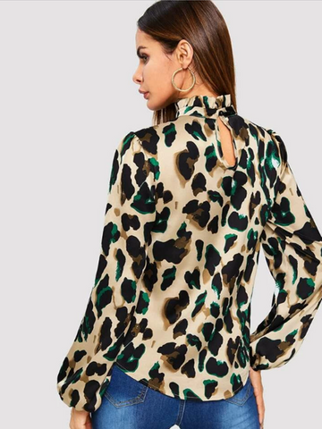 BISHOP SLEEVE FRILL NECK LEOPARD BLOUSE
