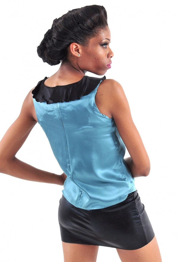 Bow Silk Sleeveless Top