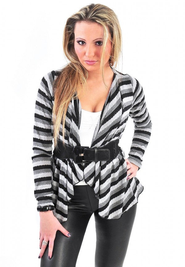 Multi-Stripe Belted Cardigan