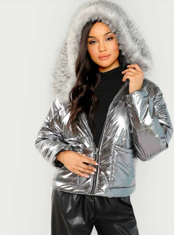 Metallic Puffer Jacket With Faux Fur Trim Hood
