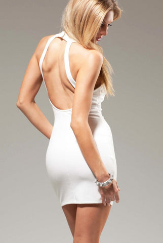 White Sexy Cut Out Mini Dress