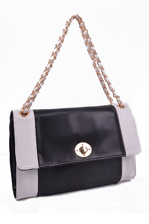Black White Flap-Top Crossbody Bag(High Quality)