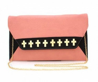 CROSS STUDDED PINK CLUTCH