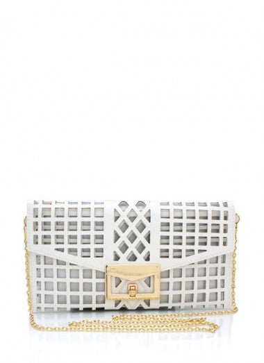 CUT-OUT CAGE WHITE ENVELOPE CLUTCH