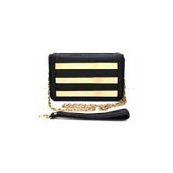 Metal Inset Black Gold Clutch