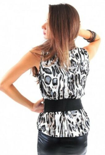 LEOPARD SATIN SLEEVELESS WRAP TOP WITH BELT
