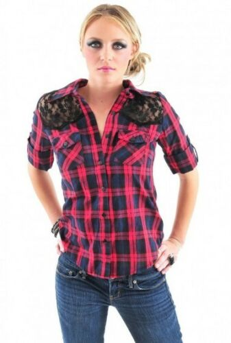 PLAID LACE TRIM SHIRT